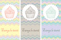 Set of card templates with cakes abstract lines and Royalty Free Stock Images