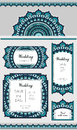 Set of card or wedding invitation. Marine oriental pattern. Festive graphic ornament