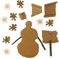 Set Cardboard Scraps, snowman and flakes snow Royalty Free Stock Photography