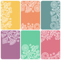 Set of cards with an abstract floral pattern Royalty Free Stock Photo