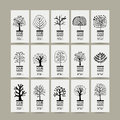 Set of cards with art trees for your design Royalty Free Stock Photo