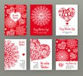 Set of 6 cards or banners for Valentine`s Day with ornate red lo