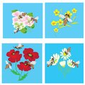 Set of cards with bees and flowers Stock Photos