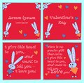 A set of cards with cartoon rabbits for Valentines Day. With holiday greetings. Square bright pink background with