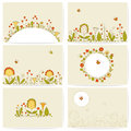 Set of cards with flowers business summer Royalty Free Stock Photo