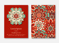 Set of cards, flyers, brochures, templates with hand drawn mandala pattern. Vintage oriental style.