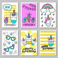 A set of cards with a happy birthday with funny unicorns