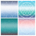Set of cards with indian mandala on blue gradient background. Bohemian ornament for posters or banners.