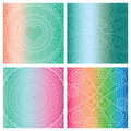 Set of cards with indian mandala on colorful gradient background. Bohemian ornament for posters or banners.
