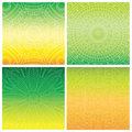 Set of cards with indian mandala on green gradient background. Bohemian ornament for posters or banners.