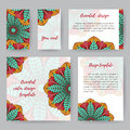 Set Of Cards With Lotus2 Royalty Free Stock Photo