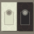 Set of cards. Ornate design can used for invitation, greeting or business card. Template for your design. Mandala vector backgroun Royalty Free Stock Photo