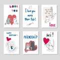 Set of cards templates with cute cats. Love theme.