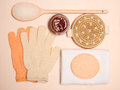Set for care of skin body bath accessories beauty treatment and spa products big room on wooden board top view Royalty Free Stock Photos