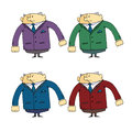 Set of caricatures the employee security guard in different clothes vector illustration cartoon character a design web sites Stock Photos