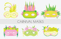 Set of carnival masks. Masquerade masks in flat style. Clip art.