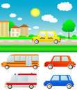 Set cars with nature landscape and city Stock Images