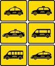 Set of cars with taxi symbol on yellow background Royalty Free Stock Image
