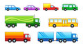 Set cars trucks buses Stock Images