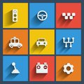 Set of cars web and mobile icons vector in flat design symbols gear gearbox traffic light steering wheel battery handle Stock Image