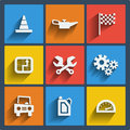 Set of cars web and mobile icons vector in flat design symbols gearbox gps speedometer road cone oiler flag wrench Stock Photo