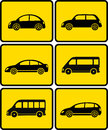 Set of cars on yellow buttons black silhouettes Stock Image