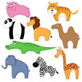 Set of cartoon animals. Royalty Free Stock Photo