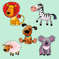 Set of cartoon animals wildlife farm and pets Royalty Free Stock Image
