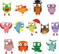 Set of cartoon birds owls illustration picture Stock Photography