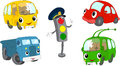 Set of cartoon bus, car, lorry, trolleybus and traffic lights Royalty Free Stock Photo