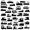 Set of cartoon cars silhouettes Royalty Free Stock Photos