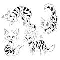 Set of cartoon cats. Collection of cute spotted kittens. Black and white drawing for children with playing cats. Linear
