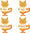 Set of cartoon cats with signs four joyful yes no good bad Stock Photo
