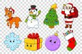 Set of cartoon characters. Fairytale tree, Santa Claus with gifts, cute deer, snowman, sock, snowflake, ball, gift. Happy New Year Royalty Free Stock Photo