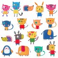 Set of cartoon characters over white background Royalty Free Stock Photo