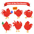 Set of cartoon chinese zodiac fire rooster. Royalty Free Stock Photo