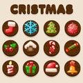 Set Cartoon Christmas Chocolate biskvit cookies, food icons Royalty Free Stock Photo