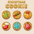 Set Cartoon Christmas cookies, biskvit food icons Royalty Free Stock Photo