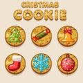 Set Cartoon Christmas cookies, food icons Royalty Free Stock Photo