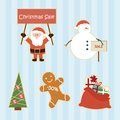 Set of cartoon christmas sale elements Stock Photo