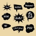 Set of Cartoon, Comic black Speech Bubbles. Clouds with in Pop Art Style. Vector Illustration for Comics Book. Speech