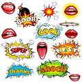 Set of cartoon comic super speech bubble labels with text, open red lips with teeth, retro cartoon vector pop art