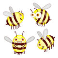 Set cartoon cute bees isolated on white background Royalty Free Stock Photo