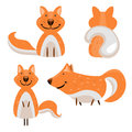 Set of cartoon cute fox