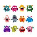 Set of cartoon cute monsters. flat vector illustration