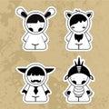 Set cartoon cute monsters. Vector. 10