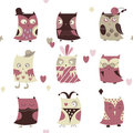Set of cartoon cute owl Stock Photography