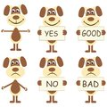 Set of cartoon dogs with signs six joyful yes no good bad Royalty Free Stock Photos