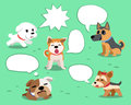 Set of cartoon dogs with white speech bubbles