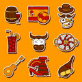 Set of cartoon drawn stickers on Spain theme: flag